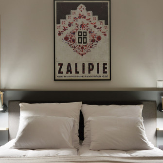 apartment-bedroom-with-polish-art-poster-Zalipie-ryszard-kaja