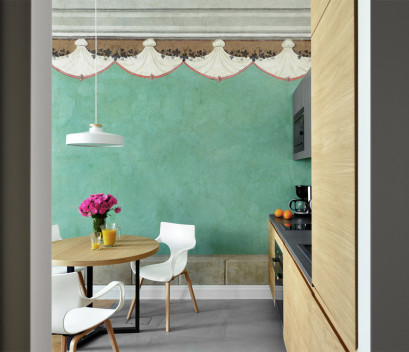 historical-studio-apartment-wall-paintings-pink-flower-kitchen